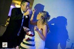 Uplights on the cake cutting at Traditions