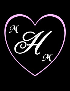 Surrounded by a heart. Bride and groom last initial in the middle, first initials smaller and on the outside