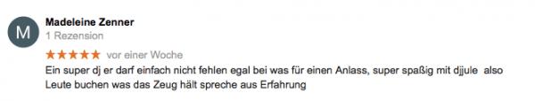 Kundenmeinungen bei Google für DJ Jule aus Hamburg - für Hochzeit und Events