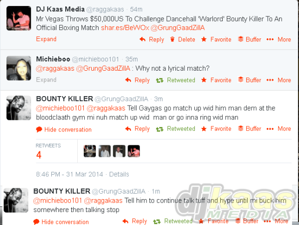 Bounty Killer responds to Mr Vegas boxing match challenge on Twitter!