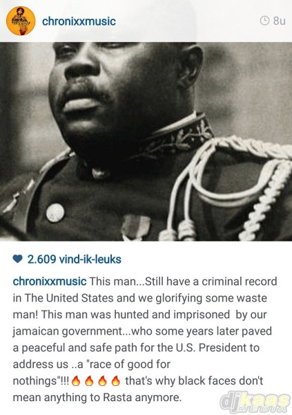 Chronixx's instagram post that started all the commotion.