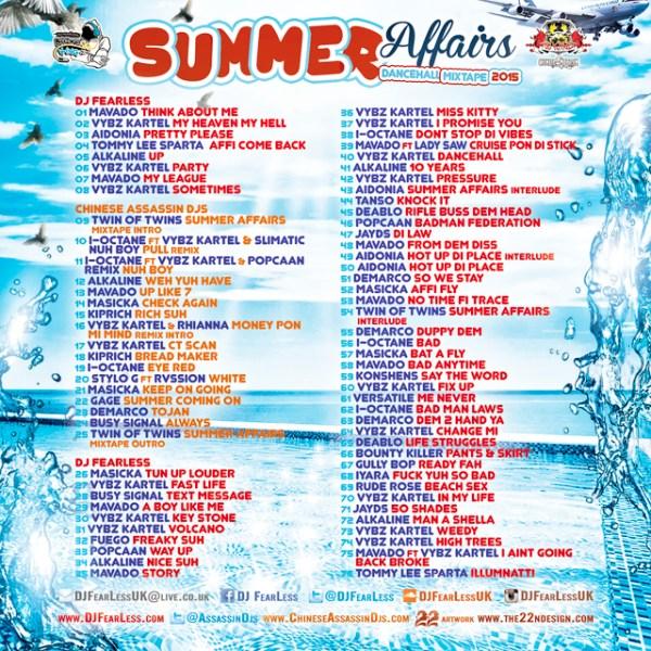 DJ FearLess & Chinese Assassin Djs - Summer Affairs Mixtape - Back Cover