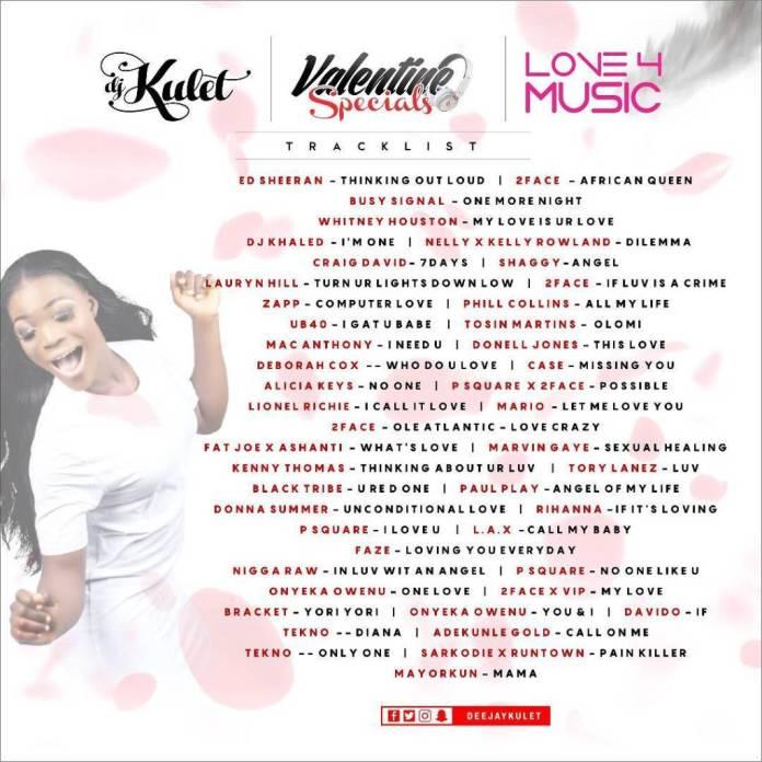 DJ Kulet – Valentine Specials Mixtape Tracklist