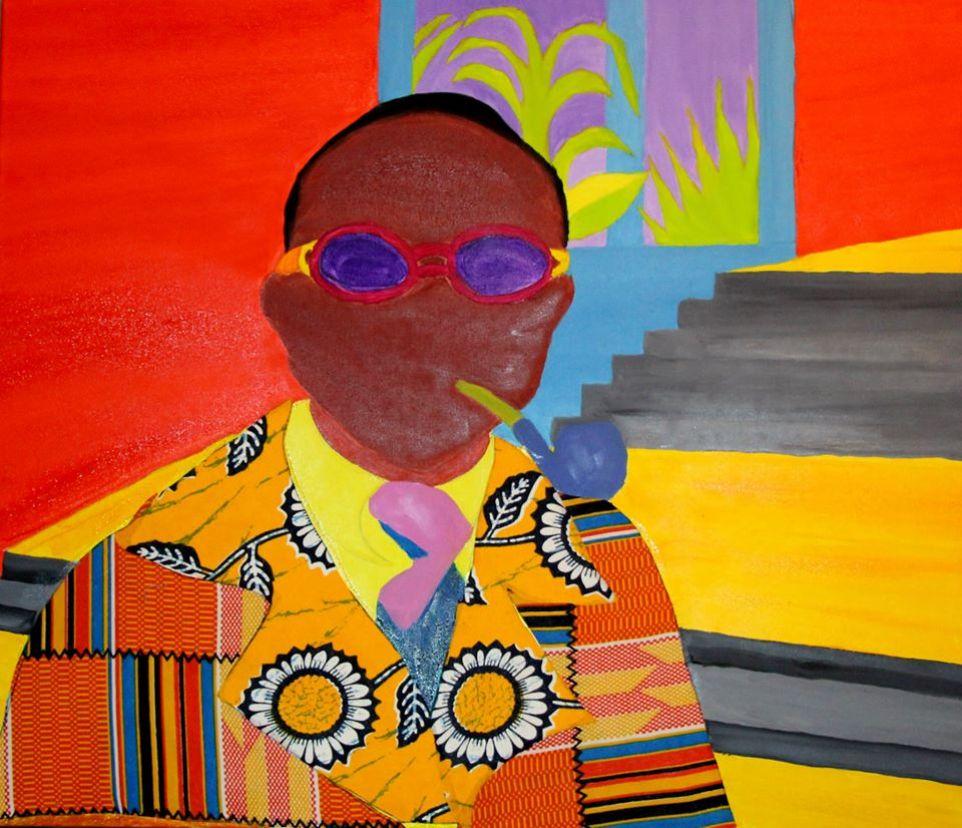 Les Gens de coleur de Kinshasa Oil on Canvas, mixed Media  Jonathan Mwe di Malila