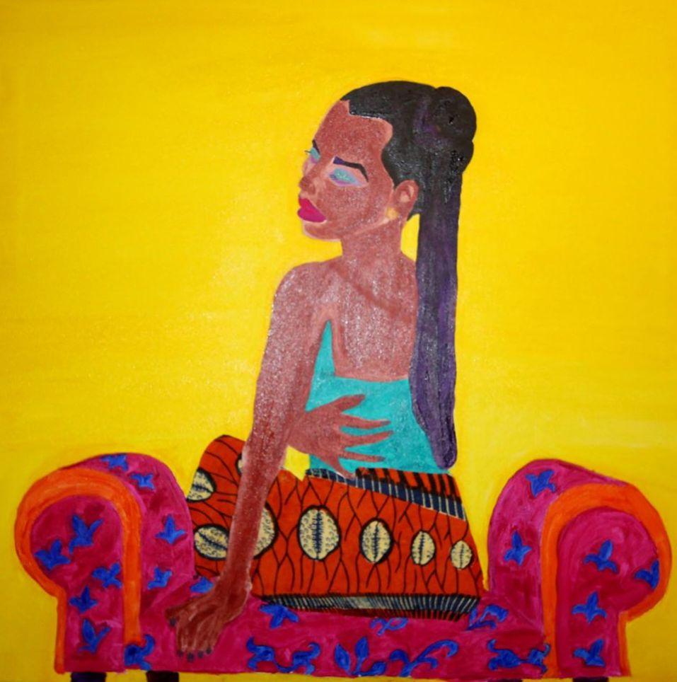 Black Beauty Djolo Oil on Canvas, mixed Media  Jonathan Mwe di Malila