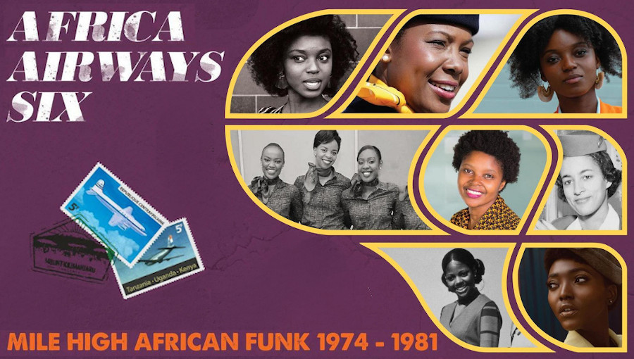 Africa Airways Six (Mile High Funk 1974 - 1981), Africa Airways, funk, compilation, disco, afrofunk, funk africain, Africa Seven, Vicky Edimo, Tim & Foty, Jude Bongeze, JK Madengue