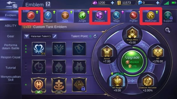 Set emblem hero miya mobile legends