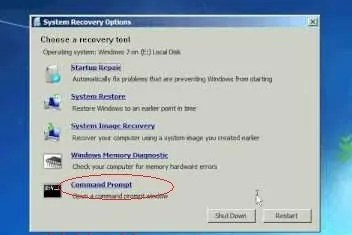 command prompt reset password
