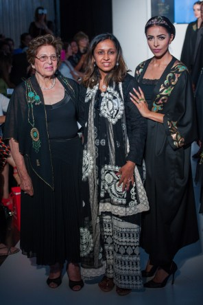 Designer Najat Bakki, D'Joya's founder and co-director Niyati Shah and model Karishma wearing the Gaudi Tiara and the Deconstructed Sunflower Ring