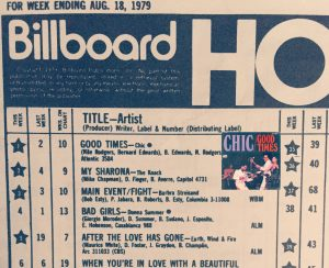 "Chic's ""Good Times"" topped the U.S. pop chart for one week in August 1979 before The Knack's disco-killer, ""My Sharona,"" took over."