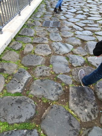 Cobblestone paths are not friendly.