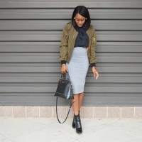 Bomber Jacket + Pencil Skirt