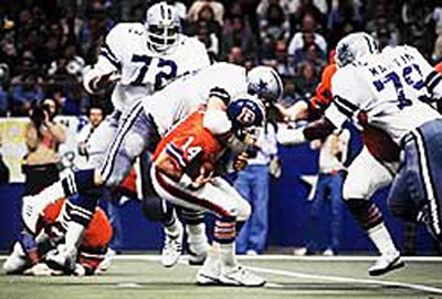 A rare occurence when someone else beat Harvey and Too-Tall to the quarterback.