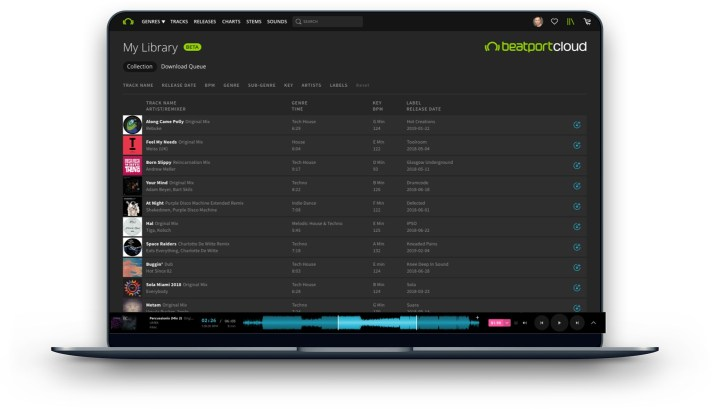 My Library - a sortable collection of your music in Beatport Cloud