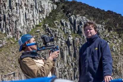 Cameraman James Sherwood filming Rob Pennicott, founder, Pennicott Wilderness Journeys © Danielle Ryan - Bluebottle Films