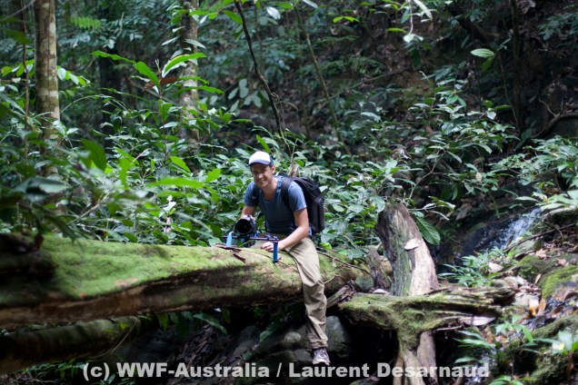 James filming for WWF-Australia in Borneo © Laurent Desarnaud, WWF-Australia