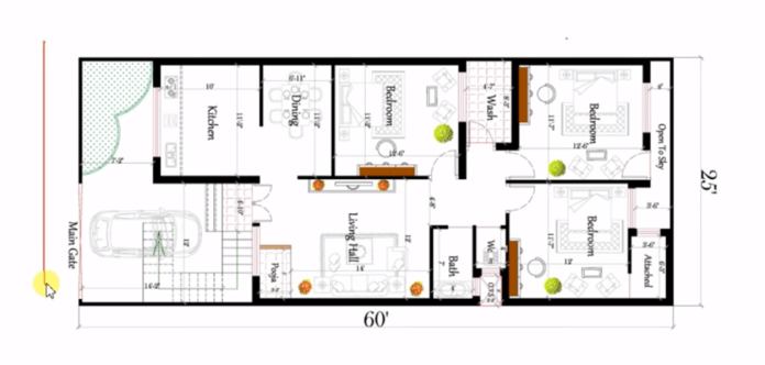 25x60 3bhk house plan in 1500 sq ft