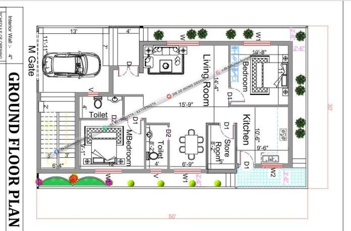 30x50 House Plan west facing