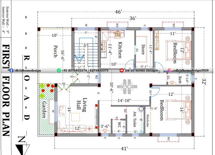 30*45 3 story house plan