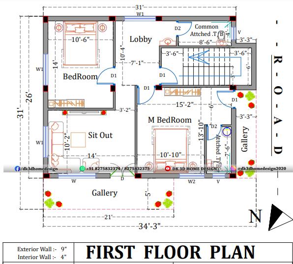 30x30 duplex house plan