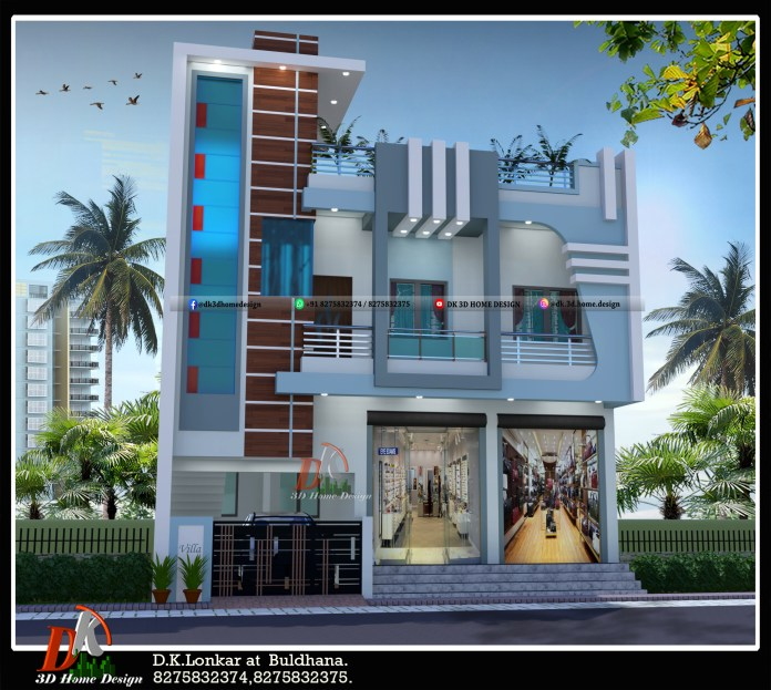 2 floor house design with shop