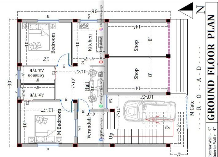30x40 2 story house plan with shop