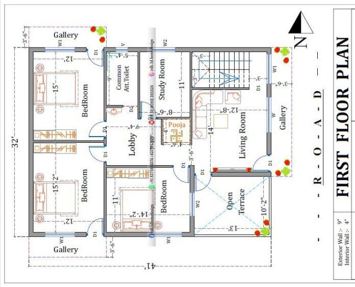 30*40 2 story house plan