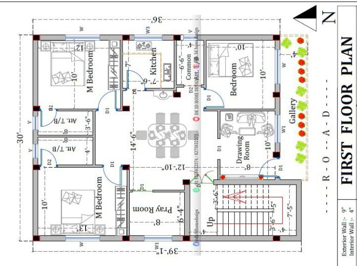 1200 sq ft g+1 house plan with shop