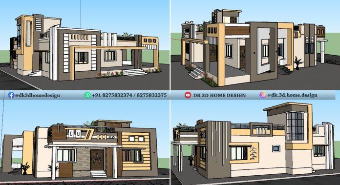 50*40 single floor house design 3d