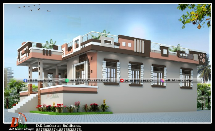 1600 square feet house front elevation design