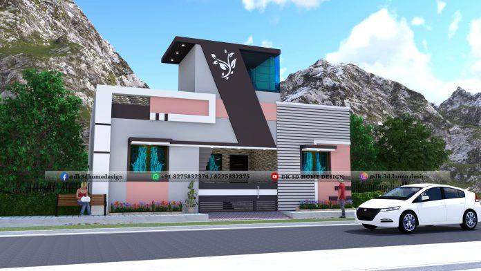 1200 sq ft house front elevation design 3d