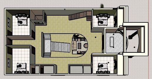 40*60 house plan 3d cut section