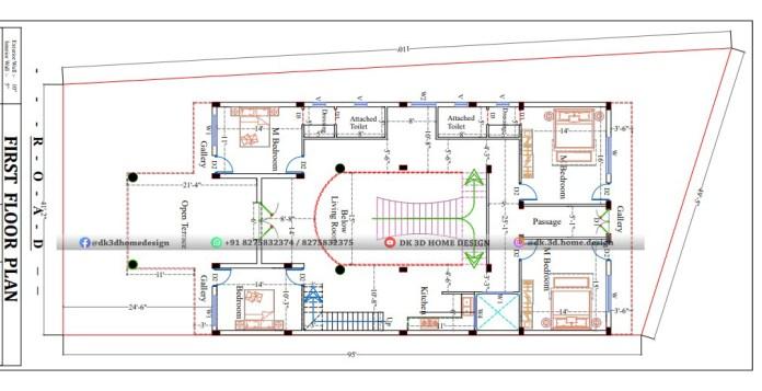 40x60 2 floor house plan
