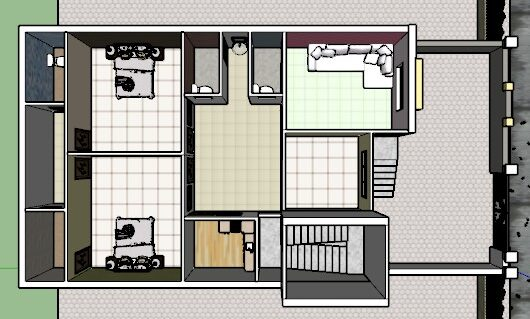30x60 house plan with 3D cut section