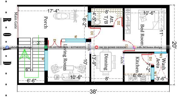 20x38 house plan under 800 sq ft