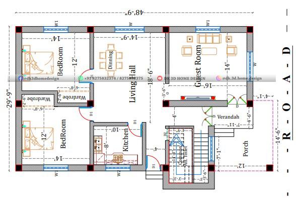 30 feet by 50 feet house plan in 1500 square feet