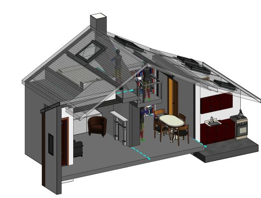 Axonometric View of Cottage