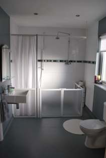 Accessible bathroom with large level access shower
