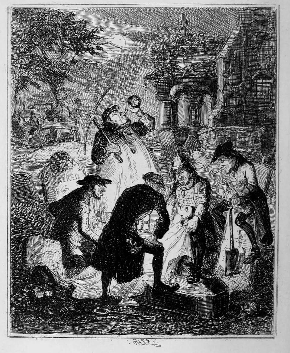 مجموعة من «نباشي القبور» يقومون بسرقة الجثث من قبورها في إنجلترا ليلاً - صورة: ويكيميديا