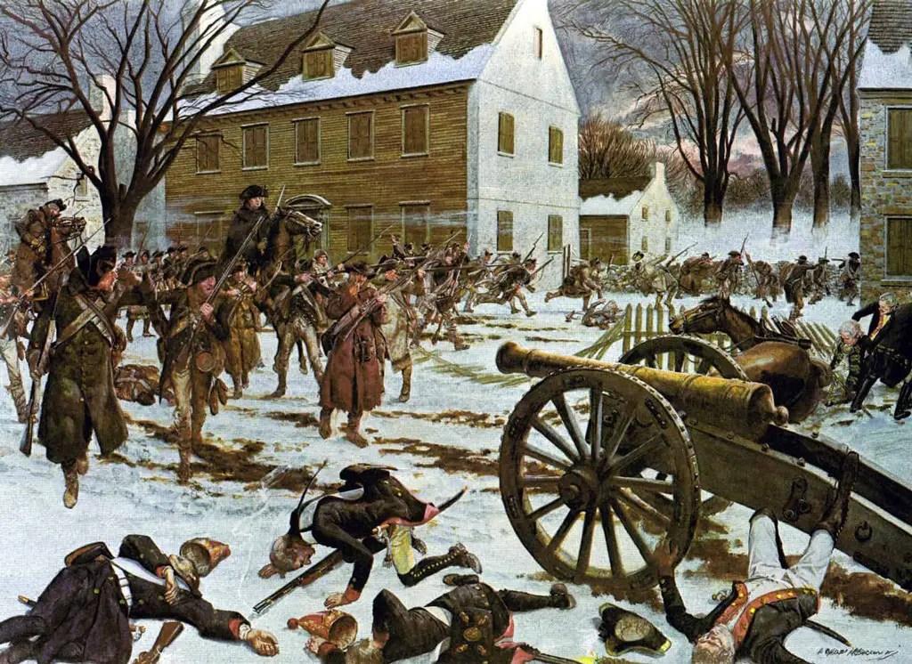 معركة ترينتون، بريشة (تشارلز مكبارون)، سنة 1975.