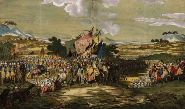 الجيش العثماني يزحف على (صوفيا) في مستهل الحرب التركية النمساوية في سنة 1788.