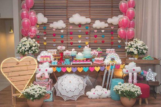 Como montar uma Mesa de Chá de Beb u00ea incrível e criativa? (com Imagens) Chá de Beb u00ea EuNenem -> Decoração Chá De Bebê Nuvem