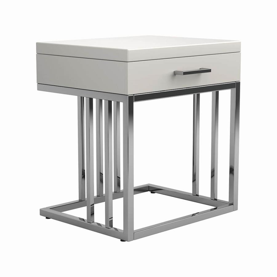 modern table top end table with storage drawers
