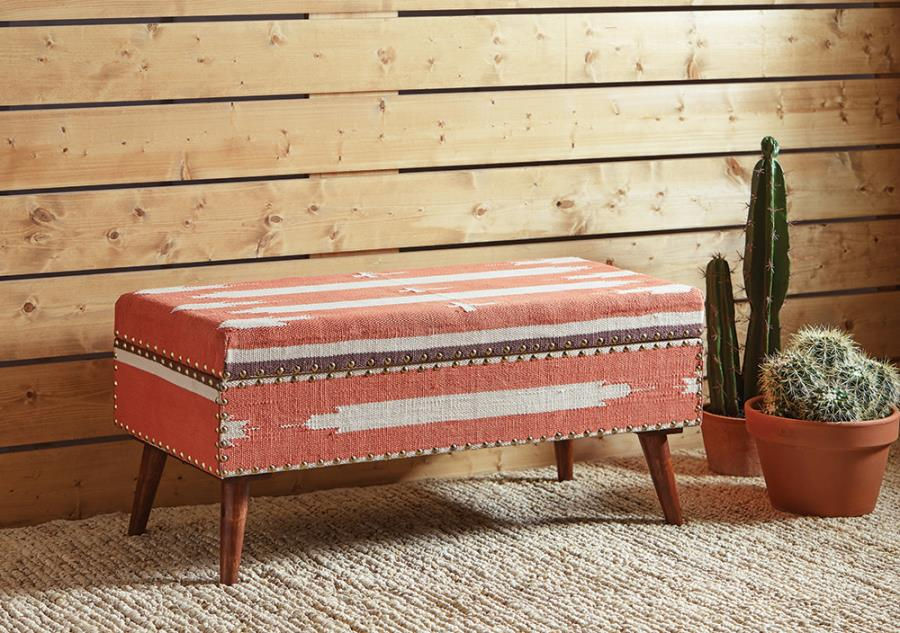 eclectic style storage bench ottoman with nailhead trim
