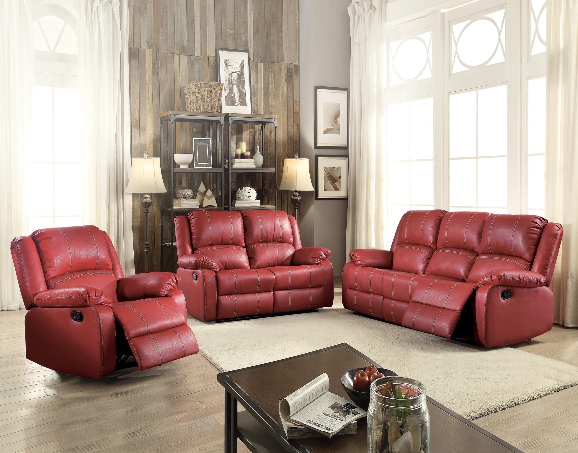 zuriel faux leather recliner sofa
