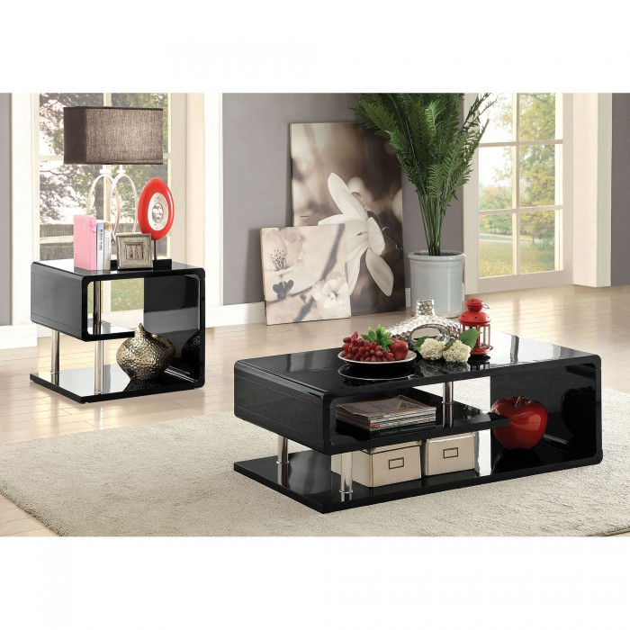 ninove contemporary black coffee table with curved shelving