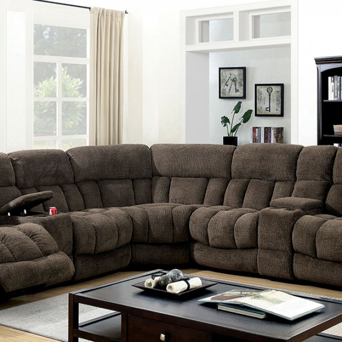 irene welting trim reclining sectional sofa