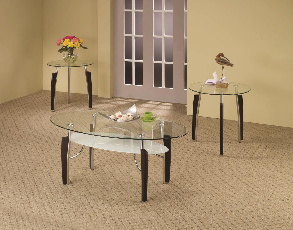 3 piece contemporary round coffee end table set