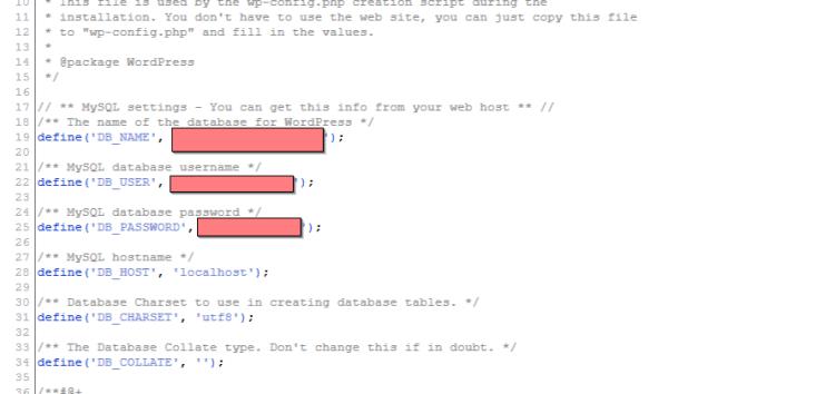 editing wp-config file