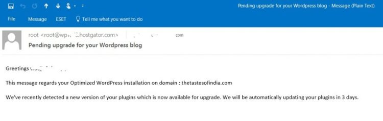 hostgator wordpress update